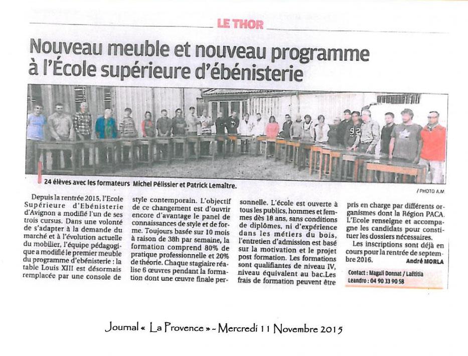 JOURNAL LA PROVENCE - 11/11/2015