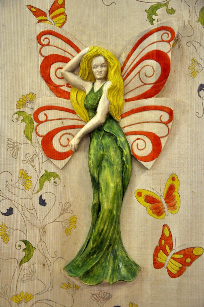 Falbala inspiration art nouveau - Bas relief en tilleul dim 785x480x75