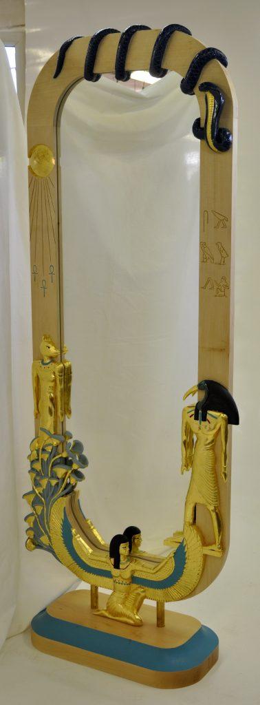 Ankh (donneur de vie) psyché inspiration égyptienne en tilleul et polychrome doré dim 1800x650x350