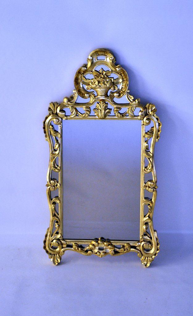Miroir Régence en tilleul avec dorure à la détrempe or jaune 23 carats dim. 880 x 470